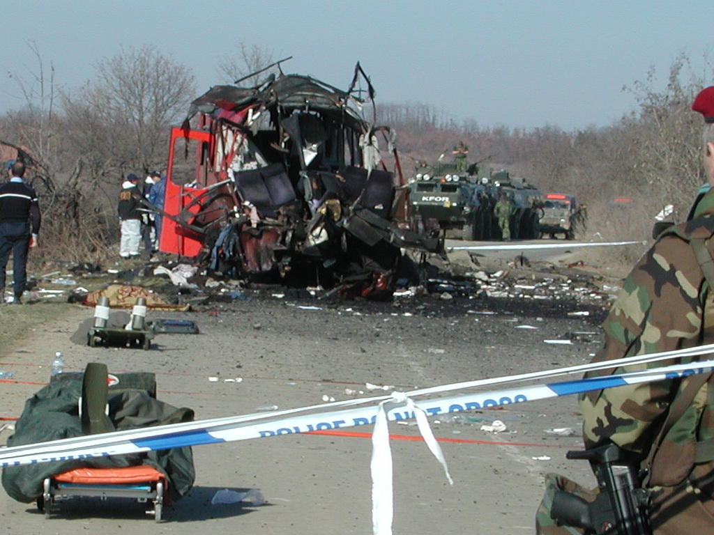 My picture from the remains of the Niš Ekspres bus from Niš bound for the Serb enclage Gračanica