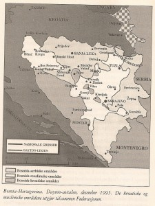 Bosnia and Hercegovina. The Dayton agreement, December 1995. The Croatian and Muslim areas together make up the Federation.