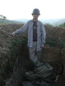 In an abandoned trench used by the UÇPMB before the Yugoslav army was supposed to take over. Photo by Mone Slingerland.