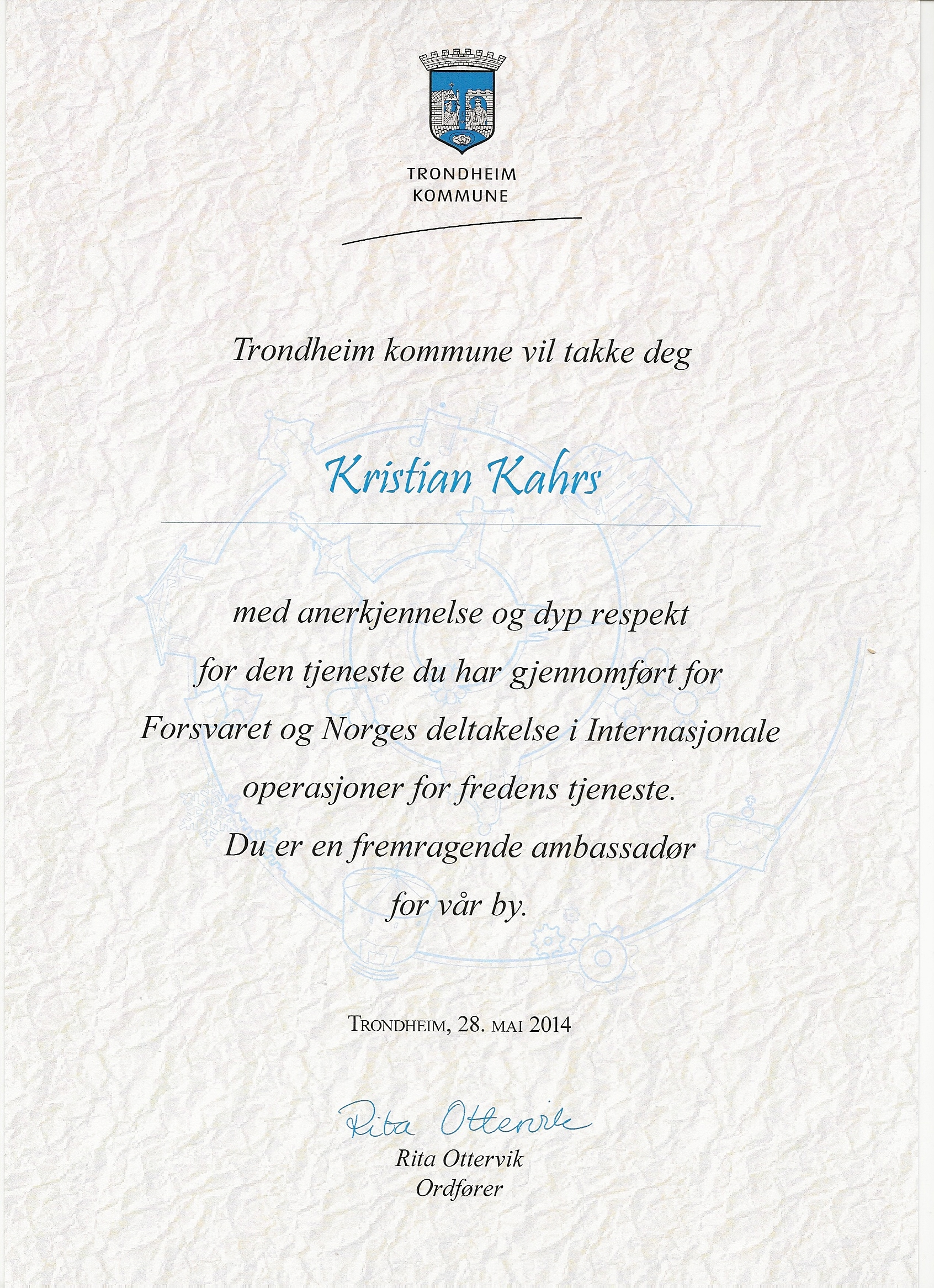 Distinction for army service in kosovo sorry serbia english translation the city of trondheim would like to thank you kristian kahrs spiritdancerdesigns Images