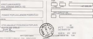 I dag har jeg vært i på postkontoret og overført 47000 serbiske dinarer, drøye 3350 kroner til den offisielle kontoen for de flomrammede.