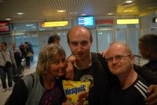 Sergey got his bag of Nesquik on Nikola Tesla airport in Belgrade.