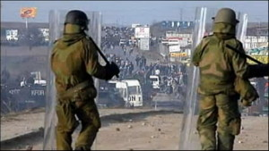 Norwegian soldiers fought against a massive Albanian mob on March 17 and 18, 2004. The pictures in this article are screen shots from the video Norwegian KFOR protecting Serbs in Kosovo 2004 aired by NRK, the Norwegian national public broadcaster in 2007.