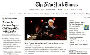 The article Donald Trump Finds Improbable Ally in WikiLeaks was the front page article all day long for the New York Times, but the author of the article, Patrick Healy, failed to inform the readers that he was an adviser for the Clinton campaign. New York Times is not an independent and unbiased newspaper